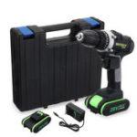Оригинал 28V беспроводный Electric Дрель Двойная скорость Li-Ion Батарея LED Мощность освещения Дрельs Ремонт Набор