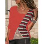 Оригинал S-5XL Повседневная Женское лоскутная асимметричная блузка с воротником