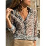 Оригинал Женское Блузка с длинным рукавом с V-образным вырезом и цветочным принтом