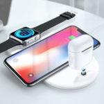 Оригинал 3 в 1 Qi Беспроводное зарядное устройство USB Стенд Power Pad для iPhoneX 8 iwatch Airpods