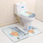 Оригинал 3штчехлынасиденьядляунитаза прекрасный душ Кот Ванная комната коврики на подставках с крышками
