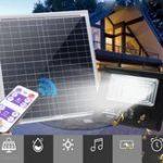 Оригинал Яркий Солнечная Powered 100 LED Прожектор безопасности с регулируемой яркостью света с контроллером Дистанционный для стены Сад На открытом воз