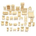 Оригинал DIY Мини 34 шт. / Компл. Детские Развивающие Кукла Аксессуары для Дома Мебель 3d Модель Woodcraft Puzzle Модель Набор Игрушки Ручной Работы