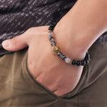 Оригинал Vintage Agate Beads Alloy Lion Head Beaded Bracelets