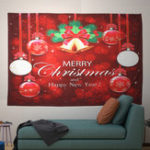 Оригинал Xmas Home Wall Hanging Tapestry Bell Printed Wall Ornaments Red Christmas Wall Decor Tapestry