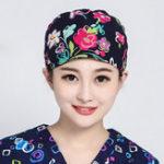 Оригинал Женское Хлопковая хирургическая шапочка с цветочным принтом Doctor Nurse Work Шапка
