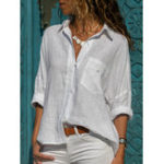 Оригинал Повседневный Женское Хлопок сплошной цвет Нерегулярные рубашки с отворотом Подол