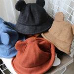 Оригинал Женское Утолщенное теплое шерстяное ведро Микки с гладкой тканью Шапка