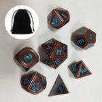 Оригинал 7шт набор старинных металлических многогранных кубиков DND RPG MTG ролевая игра