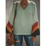 Оригинал Женское Boho V-образным вырезом с длинными рукавами пэчворк Блуза