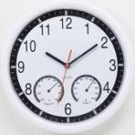 Оригинал 10 дюймов Creative Mute Пластиковые Стены Часы С Термометр Гигрометр Домашний Номер Декор