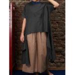 Оригинал Женское Рубашки из хлопчатобумажной пряжи с круглым вырезом с круглым вырезом
