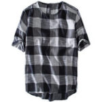 Оригинал Mens Plaid Хлопок Повседневная Свободные футболки Летние топы