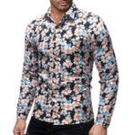 Оригинал Mens Turn Down Colllar Printing Long Sleeve Casual Shirts