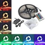 Оригинал 5M 5050 RGB Waterproof 300 LED Strip Light DC12V + 24 Key IR Controller + 5A EU Power Supply