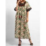 Оригинал Boho Цветочный принт с коротким рукавом Вышивка длинный Платье