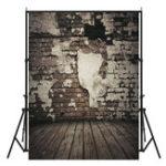 Оригинал 5x7FT винил черная кирпичная стена деревянный пол фотография фон фон студия опора