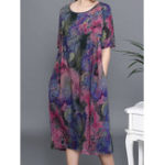 Оригинал Plus Размер Цветочный принт с коротким рукавом Элегантный Платье