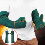 Оригинал 60cm Cowhide Electric Welding Gloves Leather Gear Mitten Long Heat Protect Warm