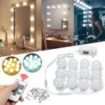 Оригинал 12шт голливудский LED луковицы тщеславия Макияж зеркальный свет повязка с подсветкой + Дистанционное Управление комплект
