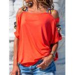 Оригинал Женское сплошной цвет с плеча блузка с коротким рукавом