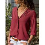 Оригинал Женское Повседневная блузка с длинным рукавом и V-образным вырезом из сплошного цвета