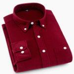 Оригинал Mens Corduroy Shirts Long Sleeve Chest Pockets Pure Color
