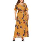 Оригинал Plus Размер Элегантный цветочный принт с коротким рукавом с длинным рукавом Платье