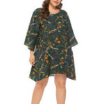 Оригинал Plus Size Casual Printed Long Sleeve Short Dress