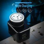 Оригинал ROCK T21 2.1A 2 порта USB Smart Charger с регулируемым зарядным устройством Night Light для iPhone X XR Xs Xiaomi Mi 8