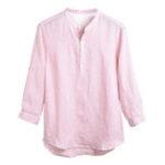 Оригинал Мужская хлопчатобумажная куртка сплошного цвета Popover Кнопки свободные рубашки