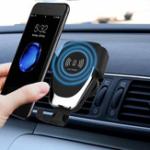 Оригинал 10 Вт Qi Беспроводная Быстрая Зарядка Gravity Linkage Auto Замок Авто Air Vent Держатель для iPhone Мобильный Телефон