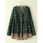 Оригинал Plus Размер Цветочный принт V-образным вырезом Кружевной Подол Женское Блуза