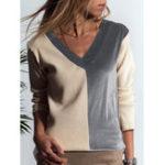 Оригинал Женское Шить цветная блузка с v-образным вырезом