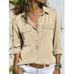 Оригинал Женское Повседневная Pure Color V-образным вырезом с длинным рукавом блузка