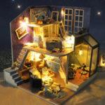 Оригинал Т-ю DIY Деревянная миниатюра Кукла дом Набор Дом под звёздным Sky Музыка Светлая мебель Романтическая коллекция подарков