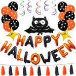 Оригинал  1 компл. Happy Halloween Украшения Bat Воздушный шар Партия Висячие Письмо Воздушный шарs Опора
