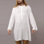 Оригинал Mens Vintage Ethnic Style Mid Long Minimalist Cotton Tops