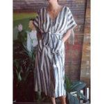 Оригинал S-5XL Women Cotton Striped V-Neck Half Sleeve Dress