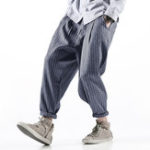 Оригинал Mens Cotton Breathable Loose Striped Vintage Baggy Pants