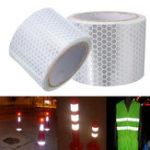Оригинал 5 см х 3 м серебристо-белый светоотражающая предупреждение предупреждение видимость ленты стикер фильм