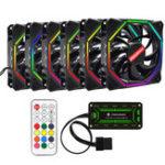 Оригинал Coolmoon 6PCS 12см Регулируемый RGB охлаждающий вентилятор с контроллером IR для настольных ПК