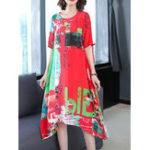 Оригинал Цветочный принт Нерегулярный подол Elegant Платье