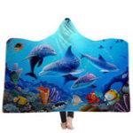 Оригинал 150×200смМалышДлявзрослыхОдеялас капюшоном Soft Океанский мир Носимый плед
