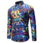 Оригинал Мужская Colorfull Printing Тонкий Fit рубашки с длинным рукавом