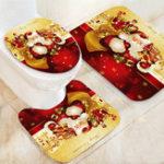 Оригинал Санта-КлаусВодонепроницаемыВаннаякомнатаСиденьядля унитазов Коврики с нескользящей коврикой Коврики для ванной Набор для печати Ho