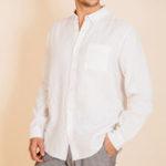 Оригинал Рубашки мужские хлопчатобумажные дышащие удобные сплошной цвет