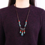 Оригинал Ethnic Handmade Women's Long Necklace Ceramic Drop Tassel Pendant Vintage Sweater Necklace for Her