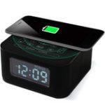 Оригинал Беспроводной USB-порт для зарядки Черный будильник Часы Hands-Free Радио Bluetooth Динамик для спальни