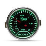 Оригинал Хромированное кольцо 52 мм 2 дюймов Зеленый LED БАР Турбо манометр повышения давления Копченый циферблат Вакуумная труба